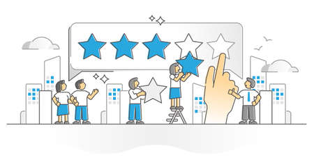 Customer feedback as client satisfaction rating monocolor outline concept. User review opinion and recommendation about product or service vector illustration. Personal experience after web shopping.