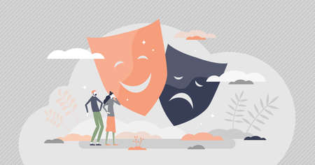 Human emotions as mood feelings facial expression theatre masks tiny person concept. Various different types of nonverbal communication with happy, sad, positive or negative smiley vector illustration Illustration