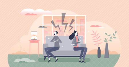 Relationship disagreements and silence after couple conflict tiny person concept. Family scandal problems with aggressive discussion and different opinions vector illustration. Emotional offense scene
