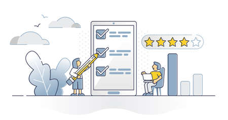 Survey rating answers report as client satisfaction research outline concept. Questions about service or product quality and rating data collection vector illustration. Stars as opinion review method.
