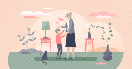 Grandmother with grandson as loving togetherness time tiny person concept. Old granny happy when visiting children vector illustration. Home meeting with cute and loving kid. Relatives age generations