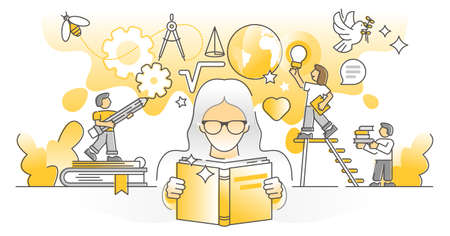 Knowledge study as personal development and growth monocolor outline concept. Smart academic learning from book literature vector illustration. Sharp mind and wise head from information research.