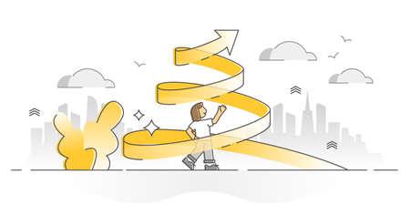 Growth spiral as personal progress and development monocolor outline concept. Career improvement symbol as upward arrow vector illustration. Female job promotion or successful profit achievement scene