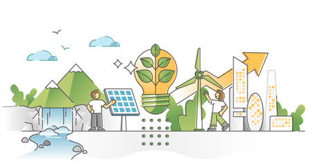 Green alternative energy consumption with solar panels and wind turbines electricity production outline concept. Emissions and CO2 free industry as sustainable eco future resources vector illustration Vektorgrafik