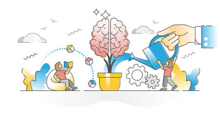 Improving memory with brain teasers and learning literature outline concept. Personal mind growth or development with help from teacher, tutor or couch vector illustration. Intellect improvement scene Vetores