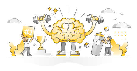 Fit brain as brainpower mental muscles strength monocolor outline concept. Educational learning and training for intelligence development and growth vector illustration. Smart and clever memory scene.
