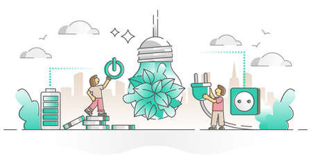 Energy saving as green and consumption efficient lamp bulb outline concept. Switch off power to save battery electricity to save environment and money vector illustration. Plug out from socket scene. Vektorgrafik