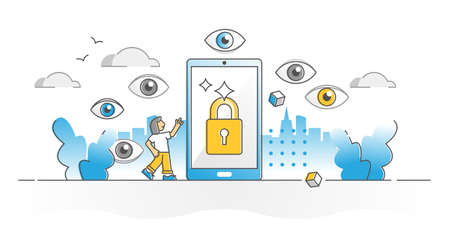 Privacy protection as device private data leaking prevention outline concept. Information safety as cyberspace shield and messages encryption technology vector illustration. Hacker security lock scene Ilustração Vetorial