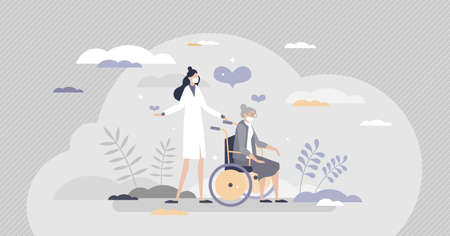 Elderly care as senior assistance with health support tiny person concept. Nursing old pensioner with wheelchair for mobility in social house vector illustration. Medical help from loving nurse scene.