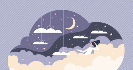 Good sleep scene with sweet dreams between clouds in sky tiny person concept. Floating female as soft and comfortable bed symbol for night bedtime vector illustration. Relaxation in moonlight scene.