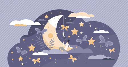 Good sleep scene with cute moon and female in sweet dreams fantasy tiny person concept. Night bedtime with deep relaxation below sky and stars vector illustration. Calm and healthy nap in moonlight. Vektoros illusztráció
