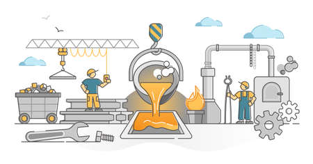 Metallurgy industry with iron or steel smelting, melting or production outline concept. Industrial manufacture factory with heavy machinery and labor vector illustration. Products processing process.