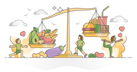 Food balance as body control with healthy meal diet vs junk and fast food outline concept. Ingredients scale with compared vegetarian fresh products and fatty unhealthy eating vector illustration.