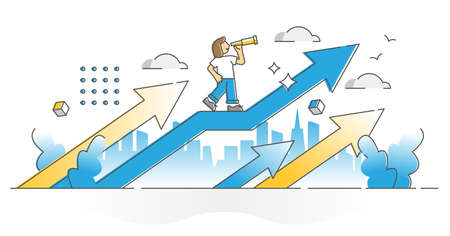 Opportunity seeing as sight in future progress and growth outline concept. Successful female career or business development and improvement with upward forward direction arrow vector illustration.
