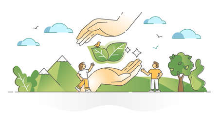 Saving nature and sustainable environment protection and care outline concept Vettoriali