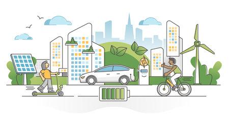 Electric transportation as green alternative energy batteries outline concept