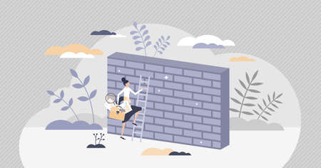 Overcoming obstacles or problem with business persistence tiny person concept Ilustracja