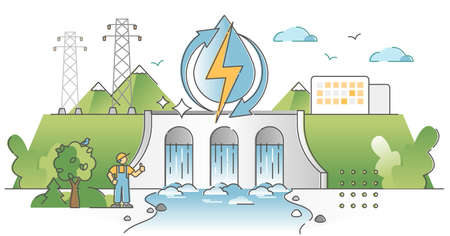 Hydroelectric power production, electricity from water stream outline concept Vektoros illusztráció