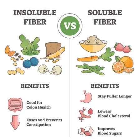 Insoluble or soluble fiber consumption benefits comparison outline concept