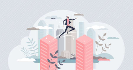 Overcoming obstacles and jump over business buildings tiny person concept