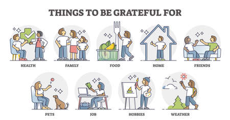 Grateful and thankful things that is not obvious in collection outline set