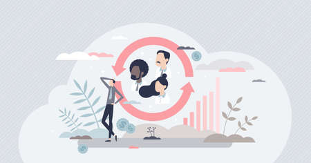 Customer retention and client care management for loyalty tiny person concept Ilustración de vector