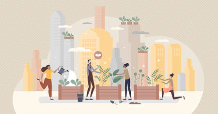 City gardening as plants agriculture ir urban environment tiny person concept Vetores