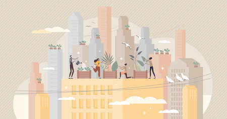 City gardening and plants agriculture on urban rooftops tiny person concept