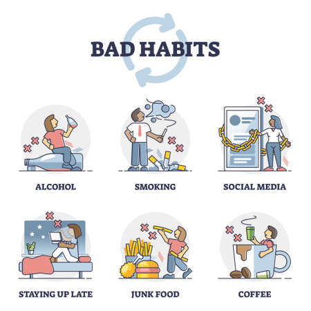 Bad habits with health danger as behavior addiction collection outline set