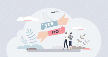 Yes or no answer to asking question as choice decision tiny person concept Vecteurs