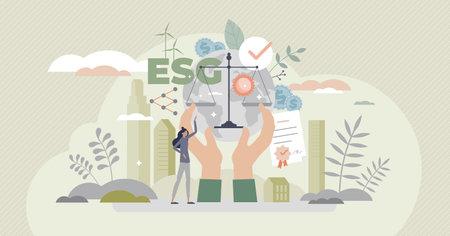ESG as environmental social governance business model tiny person concept