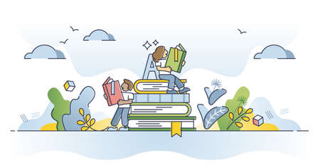Reading books and course learning from library literature outline concept
