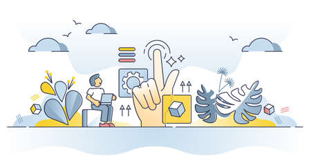 Web design usability as website practical and responsive work outline concept Vektoros illusztráció