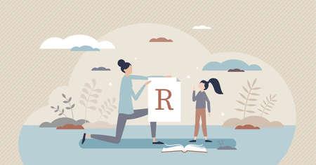 Speech therapist lesson for letter pronunciation problems tiny person concept Vektoros illusztráció