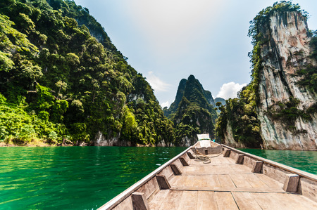 longtail: Longtail boat brings tourists to attraction point at Cheow lan lake