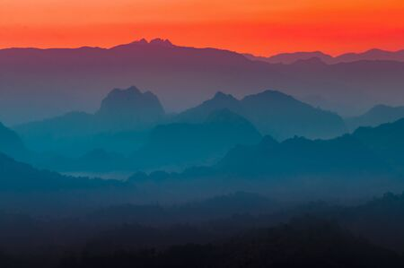 multi colors: Colorful multi colors of silhouette mountain and sky