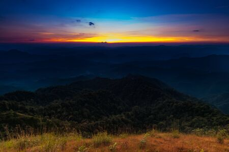dramatics: Dramatics colorful scenic sunset on the hill at Thule mountain, Tak,Thailand