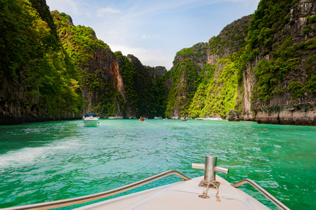 Entering Pileh lagoon with  beautiful limestone rock surrounded at Phi Phi island, Krabi, Thailand