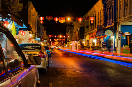 Phuket, Thailand - February 16, 2016: Thalang historic road in Phuket old town at night with long exposure shoot Stok Fotoğraf