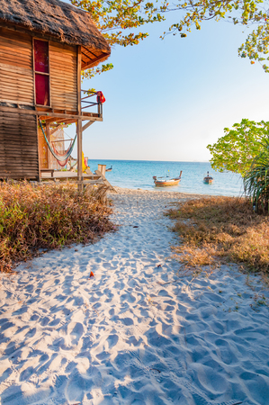 A beautiful morning with a walking path to the beach in Lipe island, Satun, Thailand