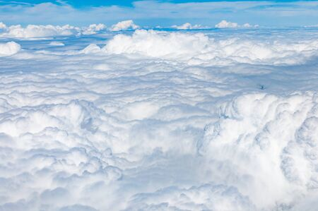 aerial views: Fluffy cloudscape in aerial views from above