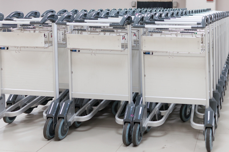Stacks of trolley at the airport selective focus