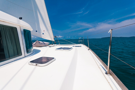 Top deck of luxury yachts during saing to the south of Phuket island, Thailand Zdjęcie Seryjne