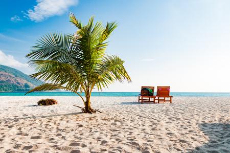 プーケット、タイのココナッツの木とビーチで空木製のビーチチェア