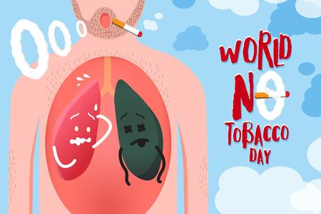 世界はタバコの日キャンペーン、コンセプト デザイン良いと毛むくじゃらの男の体の中で異常な肺のためのベクトル図 写真素材