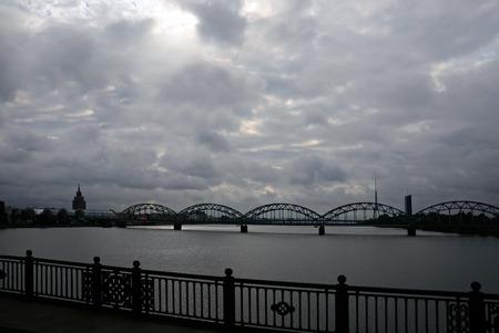 riga: Railway bridge over-the-Daugava, Riga, Latvia Stock Photo