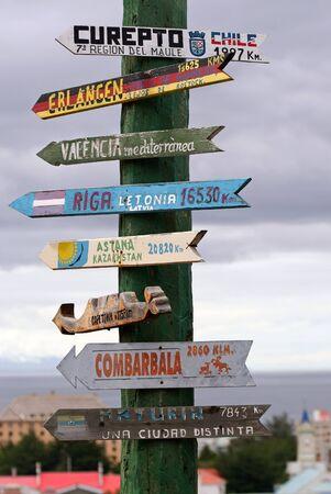 arenas: Signpost in Punta Arenas, Chile