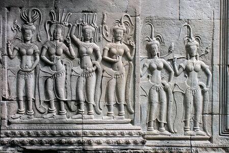 Siem Reap, relief, Dancers Editorial