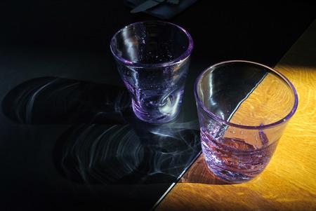 close p: purple water glass