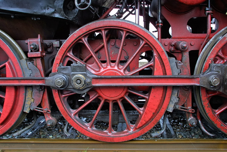 spoked: Drive wheels of a steam locomotive